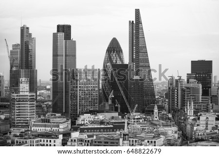 London, UK - December 19, 2016: City of London business area view at sunset. City of London the leading financial centre in the Europe.