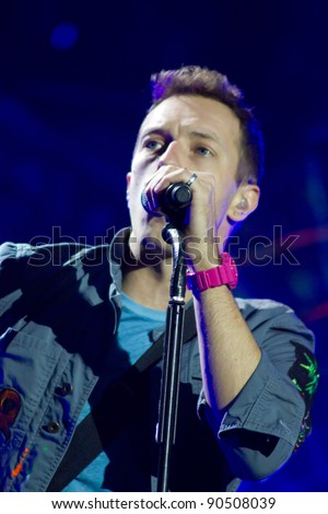 LONDON, UK - DECEMBER 9: Coldplay perform to a sell out crowd in the O2 arena, on the December 9, 2011 in London, UK