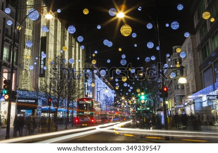 LONDON, UK - DECEMBER 9TH 2015: A view of a busy Oxford Street in the lead up to Christmas in London, on 9th December 2015.