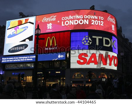 "LONDON, UK - 28 FEBRUARY 2009 Piccadilly Circus in London displaying ""Countdown to London 2012"", referring to the upcoming Olympics to be held in the city."