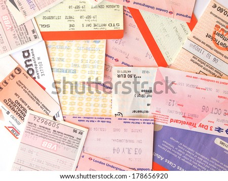 LONDON, UK - FEBRUARY 6, 2014: Set of tickets and travel cards for mass transit public transport in Europe