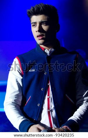 LONDON, UK - JAN. 23: Zane Malik From One Direction Play the Apollo in London on the January 23, 2012 in London, UK