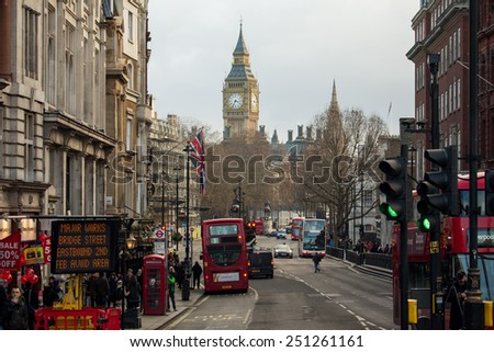 London UK January 30 2015 Busy street life and traffic in London streets on Jan 30 2015