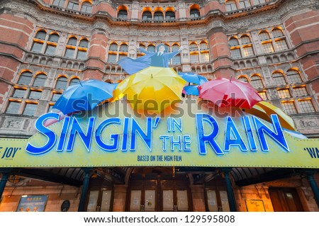 LONDON, UK - JANUARY 27:  Exterior lights warming the Palace Theatre windows for an evening performance of the stage musical version of Singing In The Rain in London, UK on January 27, 2013