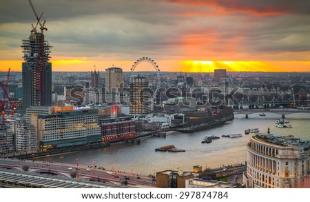 LONDON UK JANUARY 27 2015 panoramic view City of London