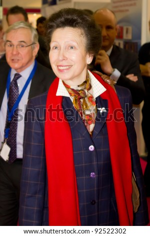 LONDON, UK - JANUARY 11: Princess Anne visits the London Boat Show in the Excel Centre on the January 11, 2012 in London, UK
