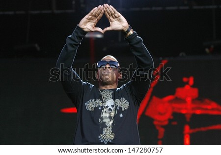 London. UK. Jay Z performs live on stage at the 02 Wireless at Hyde Park in London. 3rd July 2008.  - stock photo
