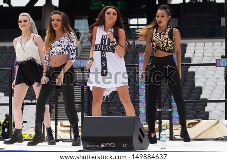LONDON, UK - JULY 21: Little Mix perform Inside the London Olympic Stadium' in London on the July 21, 2013 in London, UK