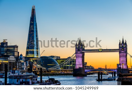 London, UK - July 16,2016 - Tower Bridge and Shard in London in the evening