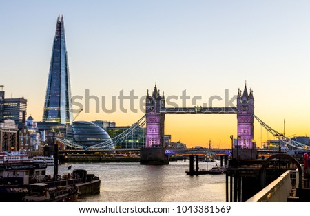 London, UK - July 16,2016 - Tower Bridge and Shard in the evening in London