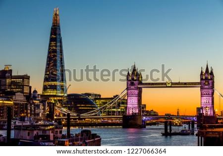 London, UK - July 16,2016 - Tower Bridge in London at night