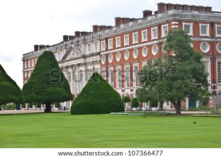 LONDON, UK-JULY 7: View of the Historic Royal Palace of Hampton Court developed by Henry V111 in from 1529, where the famous Hampton Court Flower Show has just been held. July 7, 2012 in London UK