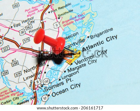 LONDON, UK - JUNE 13, 2012: Atlantic City, New Jersey, US marked with red pushpin on map. Atlantic City is a major city in North America