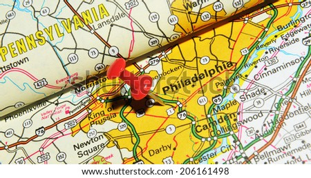 LONDON, UK - JUNE 13, 2012: Philadelphia, Pennsylvania marked with red pushpin on US map. Philadelphia is a major economic and cultural centre in North America