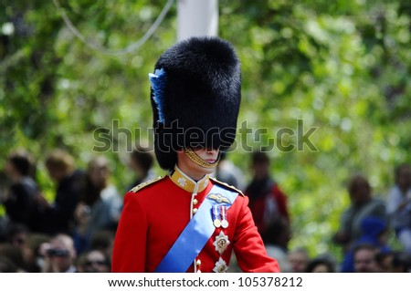 LONDON, UK - JUNE 16: Prince william during Trooping the Colour ceremony on the Mall and at Buckingham Palace, on June 16, 2012 in London.