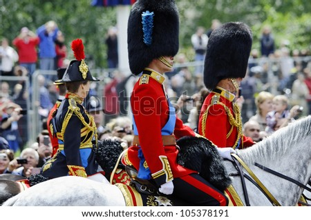 LONDON, UK - JUNE 16: Prince William, the Duke of Kent and Princess Ann during Trooping the Colour ceremony on the Mall and at Buckingham Palace, on June 16, 2012 in London.