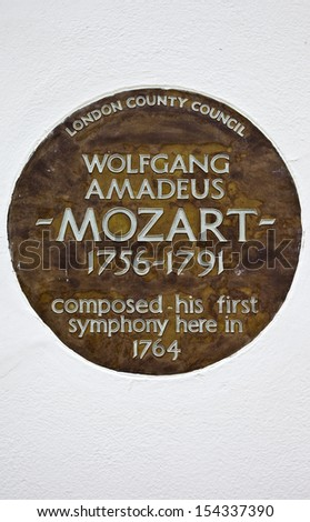 LONDON, UK - JUNE 4TH 2013: A plaque in London marking the place where Wolfgang Amadeus Mozart composed his first symphony.  Taken in Belgravia, London on 4th June 2013.