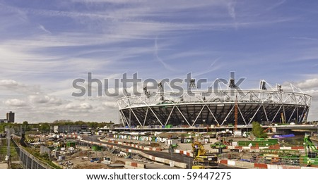 LONDON, UK - JUNE 5: The Olympic Stadium Under Construction Ready For The 2012 Olympic Games Which Will Be Held In The City on London, June 5, 2010 - stock photo