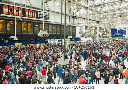 LONDON, UK - JUNE 3:  Transport chaos at Waterloo Station as up to one million people arrive for the Queen Elizabeth II Diamond Jubilee celebrations in London, UK on June 3, 2012