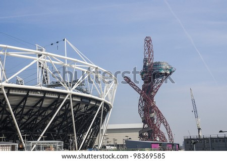 LONDON, UK -MARCH 24: Detail of London Olympics Stadium Anish Kapoor's sculpture in the background on March 24, 2012 in London. The Olympic Park is due to be ready in summer for the games.