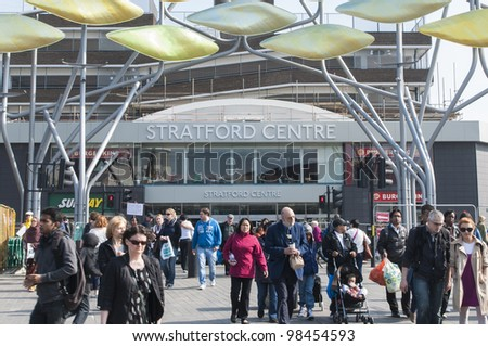 LONDON, UK - MARCH 24: Entrance to Stratford Centre, just outside Stratford Station. March 24, 2012 in London. The shopping centre is competing with the new Westfields shopping centre.
