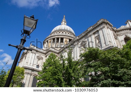 LONDON, UK - MAY 20, 2017. Looking up at the domed roof of St Pauls Cathedral, London, England, UK, May 20, 2017. #1030976053