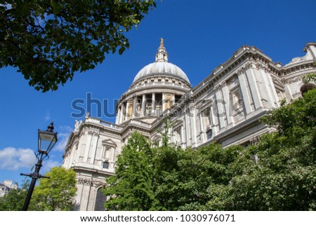 LONDON, UK - MAY 20, 2017. Looking up at the domed roof of St Pauls Cathedral, London, England, UK, May 20, 2017. #1030976071