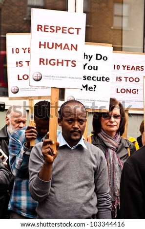 LONDON, UK - MAY 17: participants at the Eritrea vigil in London on May 17, 201 protesting against the Eritrean government religious policies and denouncing 10 years of brutal clampdown on Christians.