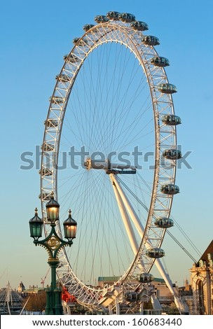 London, Uk - May 2, 2013: View Of The London Eye. May 2 2013. London Eye (135 M Tall, Diameter Of 120 M) - A Famous Tourist Attraction Over River Thames