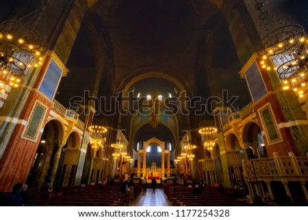 LONDON, UK - MAY 13 2018: Westminster Cathedral or the Metropolitan Cathedral of the Precious Blood of Our Lord Jesus Christ designed by John Francis Bentley and opened in 1903 in neo-Byzantine style #1177254328
