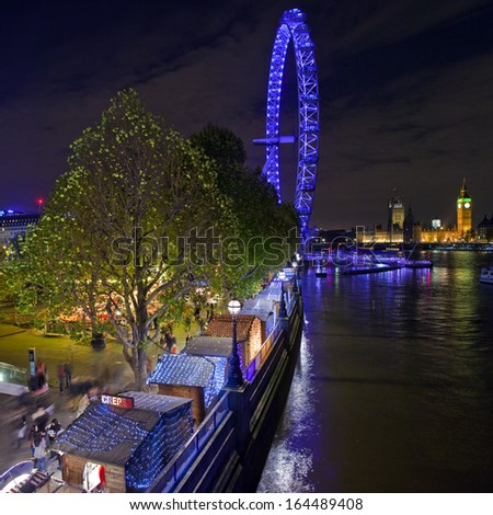 LONDON, UK - NOV 25TH 2013: A view of the Christmas Market on the South Bank in London on the 25th November 2013.