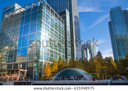 London, UK - 11 November, 2016: Canary Wharf office and Bank buildings. City bank, HSBC, Bank of America.