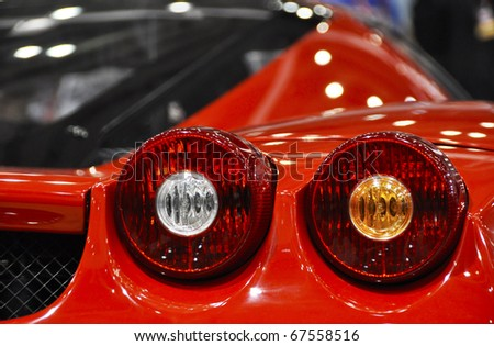 LONDON, UK - NOVEMBER 7: Detail of a Ferrari Enzo at the MPH motorshow, November 7, 2010 in London, United Kingdom
