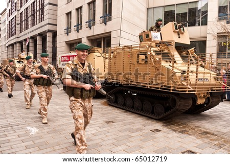 LONDON, UK- NOVEMBER 13: Members of the Royal Marines Forces Volunteer Reserves Taking part in the 795th Lord Mayor's Show, on November, 13 2010 in Guildhall, London