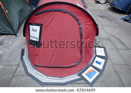 LONDON, UK -OCTOBER 31: One of the tents at Occupy London demanding or promising Real Reform on October 31, 2011 in London.