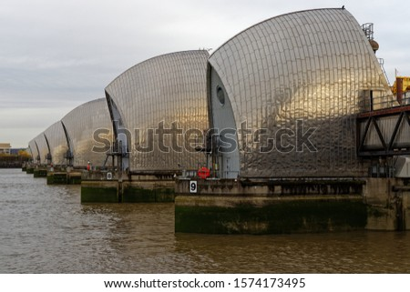 London, UK - October 25th 2019: View from the Thames Path walk of the Thames Barrier #1574173495
