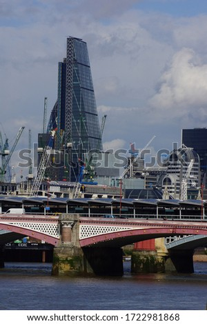 London, UK: panoramic view of  Blackfriars Bridge and the buildings of the City