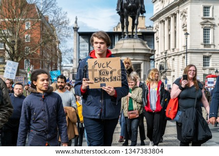 London, UK. 23rd March 2019. Thousands of people come to a demonstration calling for a second referendum on Britain exit from EU, known as Brexit. #1347383804