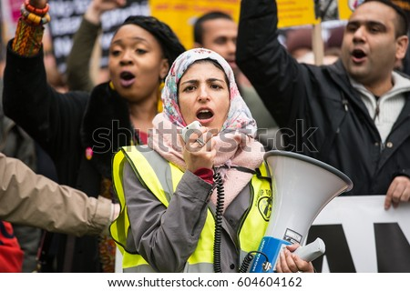 London, UK. 18th March 2017. EDITORIAL. March Against Racism - National Demo for UN Anti-Racism Day - Thousands of people turn out for the anti racism - anti Donald Trump rally through central London.