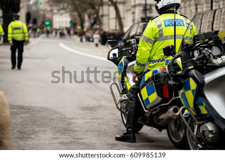 London, UK. 18th March 2017. EDITORIAL - Police presence and escort at the March Against Racism rally - National demo for UN Anti-Racism Day. Police patrolled the route of the march through London.