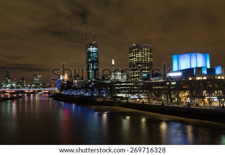 LONDON, UK - 8TH MARCH 2015:  Part of the London Skyline at night showing buildings in central London, including the Shard, OXO, IBM and 20 Fenchurch Street
