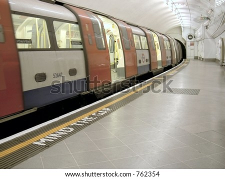 London underground train pulls into station