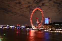 London, United Kingdom - August 08, 2015 : The London Eye is a giant wheel on the River Thames in London, also known as the Millennium Wheel, which opened to the public on 1 February 2013.
