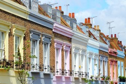 London, United Kingdom - colorful houses in Camden Town district.