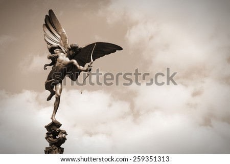 London, United Kingdom - famous Eros statue at Piccadilly Circus