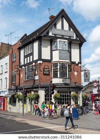 LONDON, UNITED KINGDOM - JUNE 17, 2015: Camden Eye Pub. The Camden Eye is a famous pub and sits right in the heart of Camden Town.