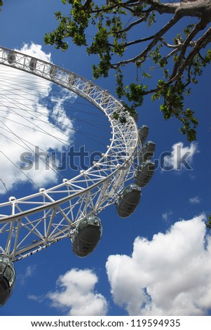 LONDON, UNITED KINGDOM - JUNE 7: London Eye on June 7, 2011 in London, United Kingdom is the tallest Ferris wheel in Europe at 135 meters