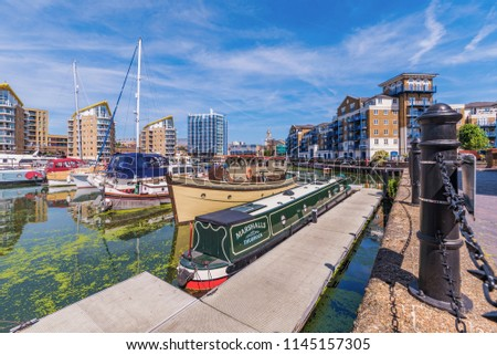 LONDON, UNITED KINGDOM - JUNE 06: View of boats docked at Limehouse Basin, a famous waterway in the East End of London on June 06, 2018 in London