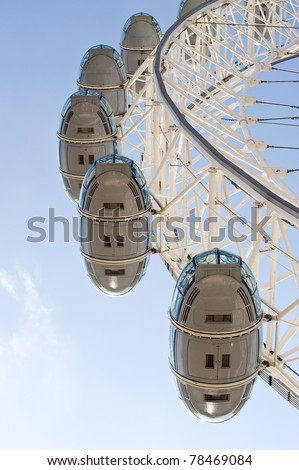 LONDON, UNITED KINGDOM - MAY 31: Detail of London Eye's cabins on May 31, 2011 in London, UK. London Eye is the tallest Ferris wheel in Europe at 135 meters.
