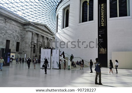 LONDON, UNITED KINGDOM - MAY 8: Great Court of British Museum on May 8, 2011 in London, United Kingdom. The Great Court is the largest covered square in Europe